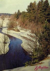 дерево, снег, река, ель, небо, вода, берег
