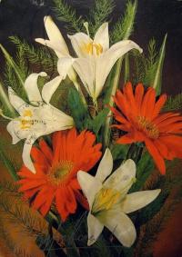 цветок, листок, лилия, веточка, букет
