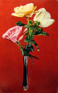 цветок, ваза, роза, букет, листок